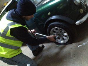 Mototyres 2 u Lee Cooper repairing classic Mini tyre puncture in Boston, Lincolnshire