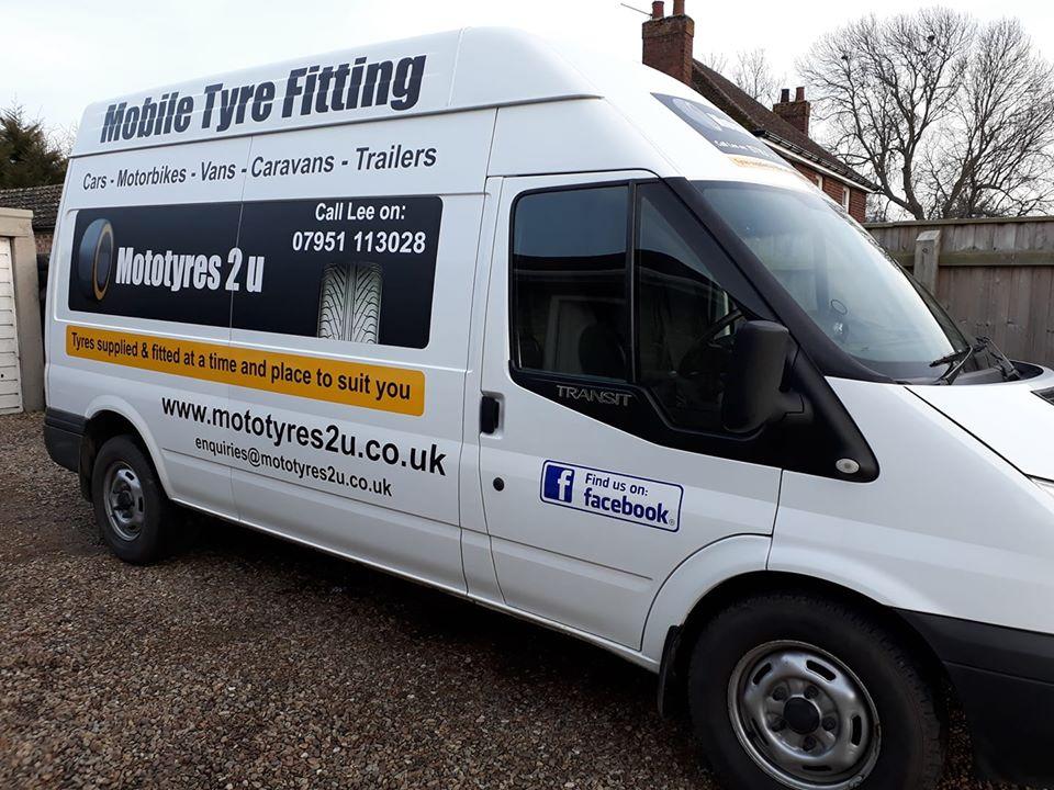 The Mototyres 2 u mobile tyre fitting workshop van in South Lincolnshire